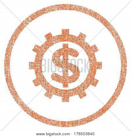 Financial Industry vector textured icon for overlay watermark stamps. Fabric orange vectorized texture. Symbol with dirty design. Rubber seal stamp with fiber textile structure.