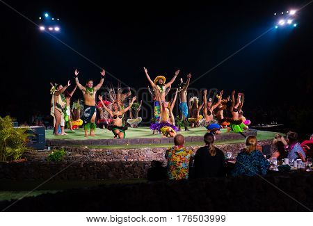 LaHaina Hawaii -- March 11 2017 Dancers take a bow after performing at a Luau on the Island of Maui Hawaii