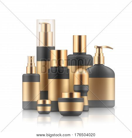 Realistic luxury gamorous set of cosmetic bottles in silver and black isolated on white background, mockup, 3D vector illustration for branding design, template, beauty and hygiene concept