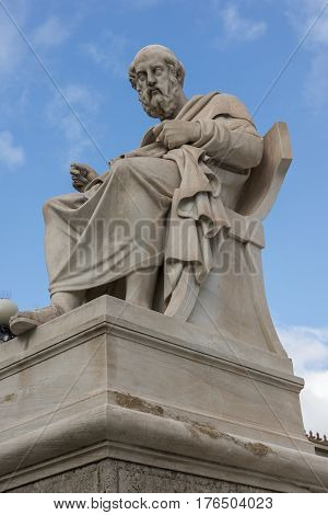 Plato statue in front of Academy of Athens, Attica, Greece