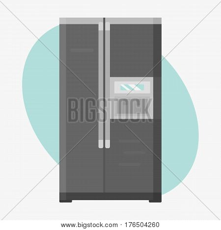 Stainless refrigerator with fashion industrial metallic cuisine kitchenware and household utensil fridge appliance vector illustration. Modern technology single electricity dish cooler equipment.