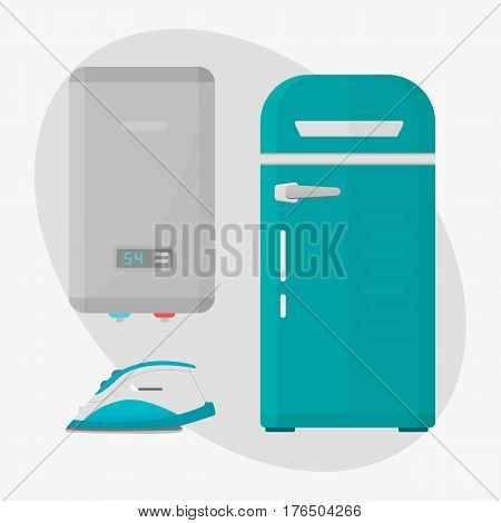 Stainless refrigerator with fashion industrial metallic cuisine kitchenware and household utensil fridge appliance vector illustration. Modern technology dish cooler equipment boiler iron.