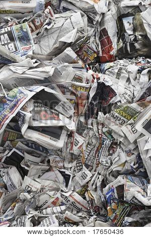 Pile of scrunched up newspapers, full frame