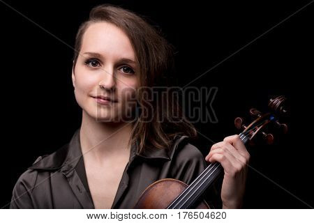 Young Woman Violinist Portrait On Black
