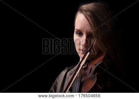 Violinist Woman Portrait In Black Copyspace