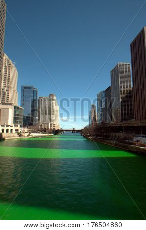 Dying of the Chicago River Green Saint Patrick's Day Columbus Bridge Clear Blue Sky