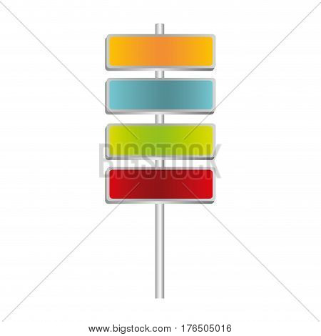 colorful metallic plaque sign post set vector illustration