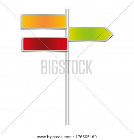 colorful metallic direction board and set sign post vector illustration