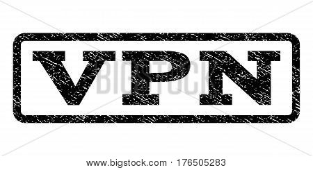Vpn watermark stamp. Text caption inside rounded rectangle frame with grunge design style. Rubber seal stamp with dirty texture. Vector black ink imprint on a white background.