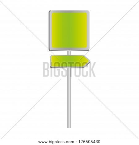 metallic green square shape traffic sign with direction board set vector illustration