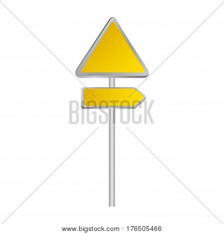 metallic yellow triangle shape traffic sign with direction board set vector illustration