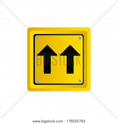 metallic realistic yellow square shape frame same direction arrow road traffic sign vector illustration