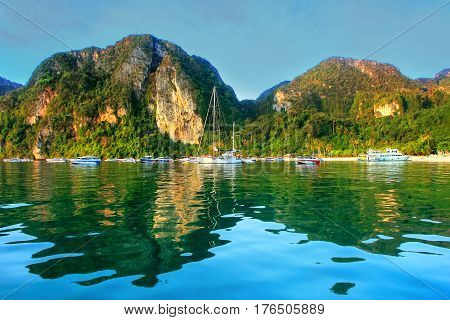 Ao Loh Dalum Bay Surrounded By Limestone Formations On Phi Phi Don Island, Krabi Province, Thailand.