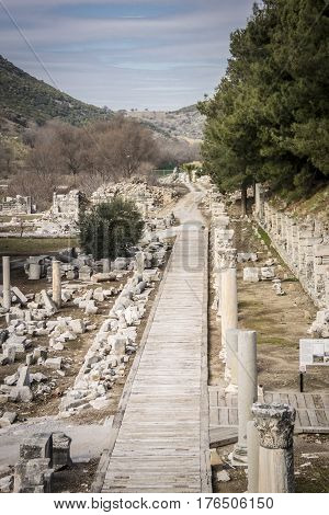 Harbour Street in the ancient city of Ephesus in Selcuk Turkey