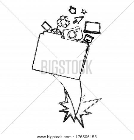 blurred silhouette folder and tech elements vector illustration