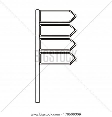 silhouette directional metallic plaque road sign vector illustration