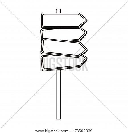 silhouette multidirectional metallic plaque road sign vector illustration