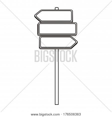 silhouette multidirectional metallic plaque road sign and guidepost vector illustration