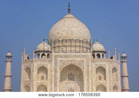 Close View Of Taj Mahal Against Blue Sky, Agra, Uttar Pradesh, India