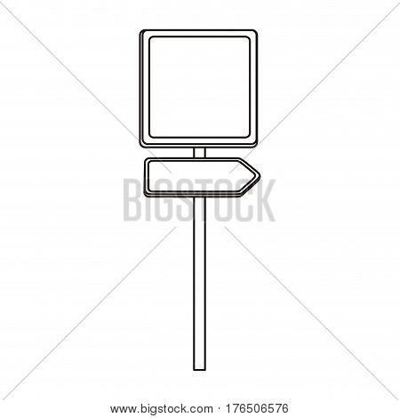 silhouette metallic square shape traffic sign with direction board set vector illustration
