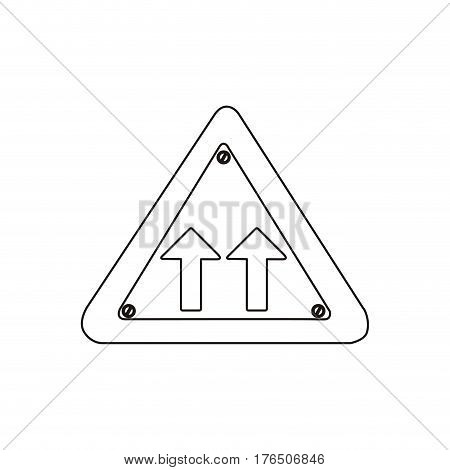 silhouette metallic triangle frame same direction arrow road traffic sign vector illustration