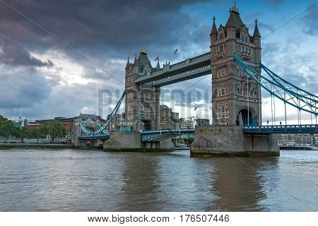 LONDON, ENGLAND - JUNE 15 2016: Sunset view of Tower Bridge in London, England, Great Britain