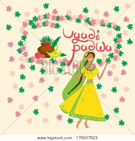 Woman Celebrating Happy Ugadi and Gudi Padwa Hindu New Year Greeting Card Holiday Flat Vector Illustration