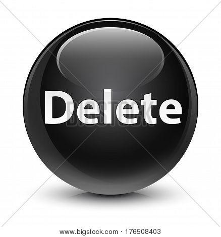 Delete Glassy Black Round Button