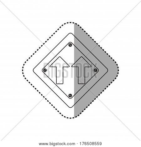 sticker silhouette metallic diamond shape frame same direction arrow road traffic sign vector illustration