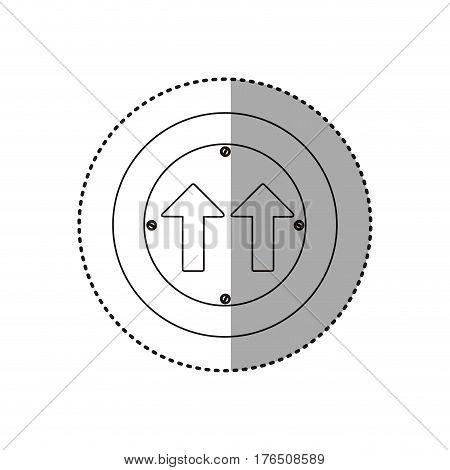 sticker silhouette metallic circular frame same direction arrow road traffic sign vector illustration