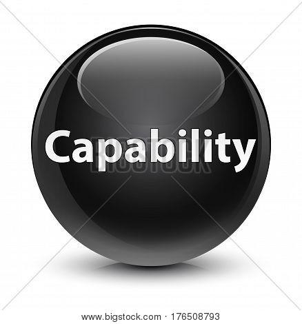 Capability Glassy Black Round Button