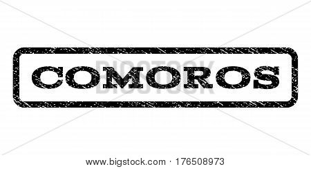 Comoros watermark stamp. Text caption inside rounded rectangle with grunge design style. Rubber seal stamp with dirty texture. Vector black ink imprint on a white background.