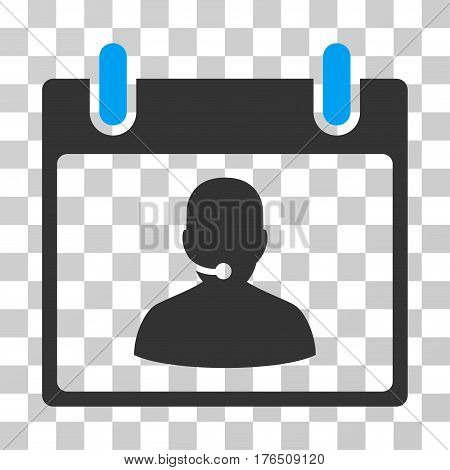 Call Center Manager Calendar Day icon. Vector illustration style is flat iconic bicolor symbol, blue and gray colors, transparent background. Designed for web and software interfaces.