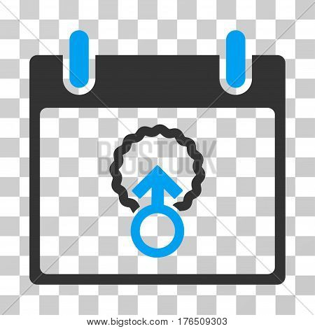 Cell Penetration Calendar Day icon. Vector illustration style is flat iconic bicolor symbol, blue and gray colors, transparent background. Designed for web and software interfaces.