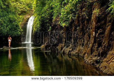 Wainibau Waterfall at the end of Lavena Coastal Walk on Taveuni Island Fiji. Taveuni is the third largest island in Fiji.