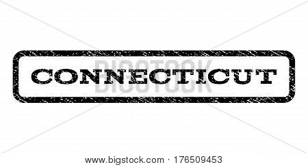 Connecticut watermark stamp. Text tag inside rounded rectangle with grunge design style. Rubber seal stamp with dirty texture. Vector black ink imprint on a white background.