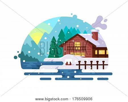 Wooden house on lake shore winter in mountains. Vector illustration