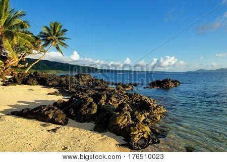 Coastline In Lavena Village On Taveuni Island, Fiji