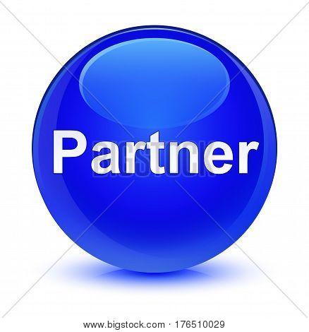 Partner Glassy Blue Round Button