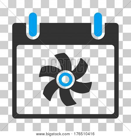 Fan Calendar Day icon. Vector illustration style is flat iconic bicolor symbol, blue and gray colors, transparent background. Designed for web and software interfaces.