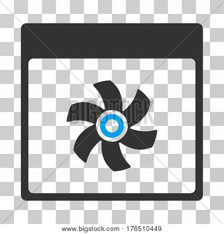 Fan Calendar Page icon. Vector illustration style is flat iconic bicolor symbol, blue and gray colors, transparent background. Designed for web and software interfaces.