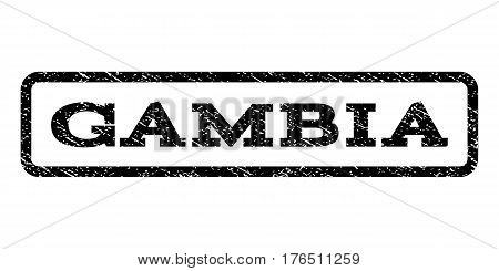 Gambia watermark stamp. Text tag inside rounded rectangle with grunge design style. Rubber seal stamp with dirty texture. Vector black ink imprint on a white background.