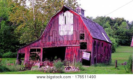 Old Barn about to Fall from old age