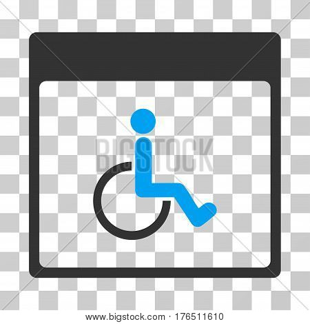 Handicapped Calendar Page icon. Vector illustration style is flat iconic bicolor symbol, blue and gray colors, transparent background. Designed for web and software interfaces.