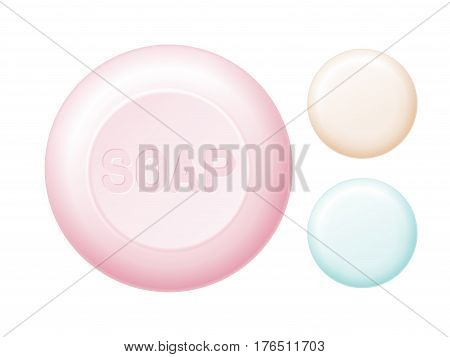 Rounded bar of soap isolated on white. Easy recolored vector. Eps8. RGB. Global colors