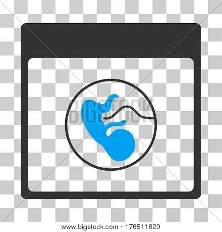 Human Embryo Calendar Page icon. Vector illustration style is flat iconic bicolor symbol, blue and gray colors, transparent background. Designed for web and software interfaces.