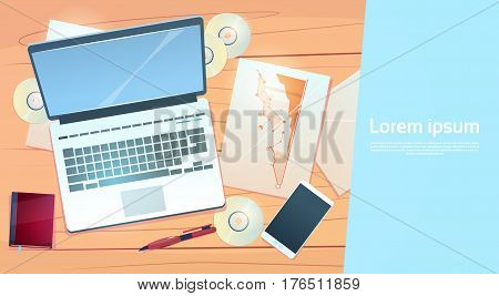 Workplace Desk Laptop Finance Documents Papers Office Stuff Top Angle View Flat Vector Illustration