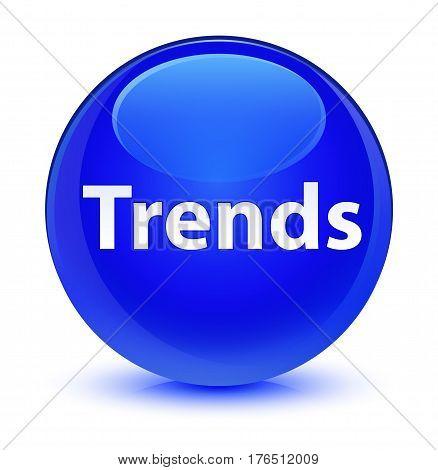 Trends Glassy Blue Round Button
