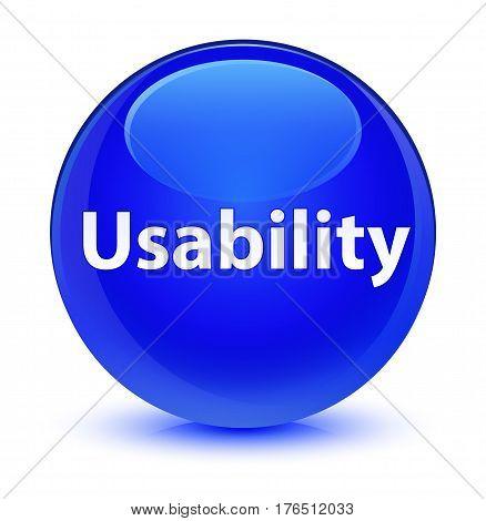 Usability Glassy Blue Round Button