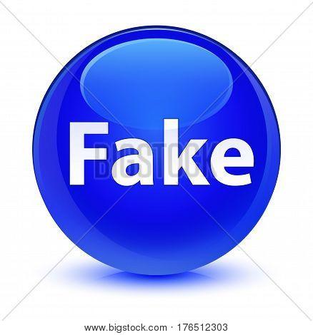 Fake Glassy Blue Round Button